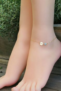 ANKLET personalized ankle gold filled, custom stamped initial disc & Swarovski Birthstone, beach wedding, Bridesmaids Gift, hand made ankle chain Anklet Bracelet, Anklets, Fashion Bracelets, Fashion Jewelry, Anklet Designs, Ankle Jewelry, Swarovski, I Love Jewelry, Gold Filled Chain
