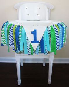 Blue and Green Highchair Banner