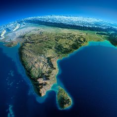 Planet Earth ©: Exaggerated relief map of South Asia (with the Himalayas in the background) Geography Map, World Geography, Earth And Space, Satellite Maps, Unique Maps, History Of India, Map Of India, India India, India Culture