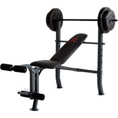 Marcy Diamond Weight Bench w/ 80lb Weight Set: MD-2080, Gray