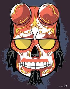 "Superhero Sugar Skull | Hellboy"" Print Inspired by the comics and movies"
