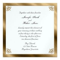 This beautiful and elegant design, called Gold Damask Silk Posh Wedding, has a beautiful Vintage inspired design. The background is a creamy gold and ivory vintage silk with a damask pattern. In each corner there is a gold damask design. #Wedding #Invitations