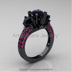 Classic French 14K Black Gold Three Stone 2.0 Ct Black Diamond Pink Sapphire Solitaire Ring R421-14KBGPSBD
