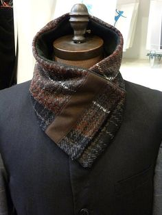 Neckwarmer Brown Plaid wool / scarf / fleece lining by Wendelart, $45.00