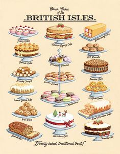 Classic Cakes Art Print by Kelly Hall at King & McGaw kitchen British Cake, British Tea Time, British Party, British Sweets, Tea Party Menu, Tea Party Desserts, Tea Time Snacks, Simply Yummy, Pause Café