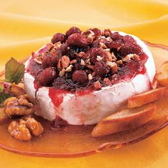 APPETIZERS: Cranberry Rum Brie from McCormick.com..  I just love the contrasting flavors and textures in this recipe. I just want to grab a cracker and scoop it all up!  #Colorful #Harvest #Recipe.
