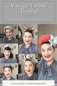 Vintage Hairstyles Tutorial, 1940s Hairstyles, Scarf Hairstyles, Cool Hairstyles, Head Scarf Tutorial, Turban Tutorial, Head Scarf Styles, Hair Styles, Hair Turban