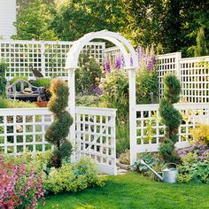 Gorgeous fencing for a flower and vegetable garden