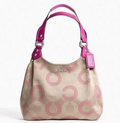 Coach Ashley Dotted OP Hobo Bag Khaki Fuchsia 21920: Clothing