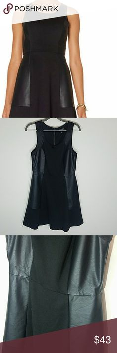 Black Skater Dress with Faux Leather Side Inserts Beautiful black dress with faux leather on sides. Never worn. The Limited Dresses