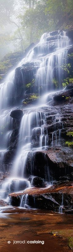 "Mist over Sylvia Falls, Valley of the Waters, Blue Mountains, New South Wales, Australia. ""Sylvia Falls"" by Jarrod Castaing Fine Art Photography. Image Nature, All Nature, Amazing Nature, Nature Photos, Beautiful Waterfalls, Beautiful Landscapes, Chutes Victoria, Beautiful World, Beautiful Places"
