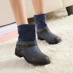 British Style Retro Rivet Zip Boot from gigmall