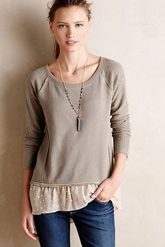 Stitch Fix Stylist - Darling dressy sweatshirt. Has a feminine flair with the ruffle polka dot bottom.