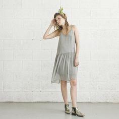 Cocktail Dress Light Grey. ($97) via Polyvore featuring dresses, flounce dress, sexy dresses, 1920s inspired dresses, deep v neck dress and chiffon ruffle dress