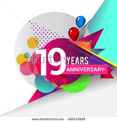 19 years Anniversary logo, Colorful geometric background vector design template…