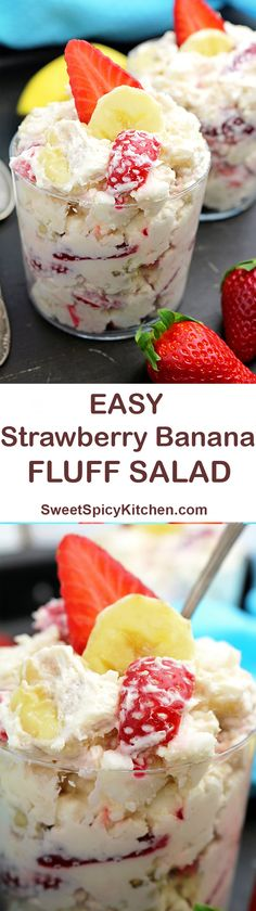 Easy Strawberry Banana Fluff Salad Easy Strawberry Banana Fluff Salad is simple, light, refreshing treat made of fresh strawberries and bananas.This recipe you will love and keep safely. Banana Recipes, Fruit Recipes, Summer Recipes, Dessert Recipes, Cooking Recipes, Simple Recipes, Cooking Jam, Grill Recipes, Cooking Light