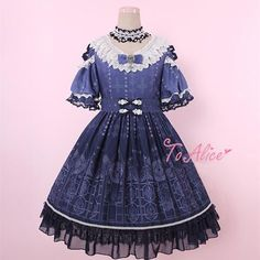 Light Blue/Navy Blue Lolita Church Window Lace Dress SP179787