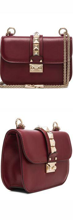 VALENTINO SMALL LOCK SHOULDER BAG shown in Crimson