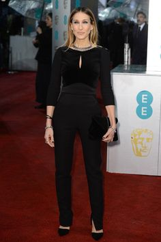 February 10 2013 Attending the BAFTA Awards Sarah Jessica Parker eschewed the typical gown to arrive in a black Elie Saab jumpsuit.