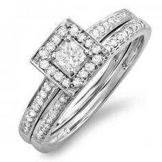 Make the moment you ask for her hand in marriage that much more special with this exquisite 0.50 ct. diamond bridal set in 14K white gold. The engagement ring sparkles with a Princess cut diamond solitaire brightly shining in a squared frame set with additional round diamonds. Along the shank, and lining the wedding band, Round diamonds add depth and richness. You won't get better than this at any of our competitors.