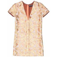 Rochas Brocade Dress ($625) ❤ liked on Polyvore featuring dresses, short sleeve mini dress, short sleeve shift dress, v neck mini dress, beige dress and short sleeve floral dress