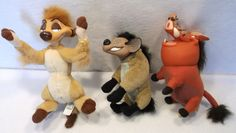 Lot of 3 Disney Lion King shenzi pumba timone plush toys A USED #Disney