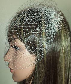 Bridal Ivory Birdcage wedding veil. Diamante and pearl