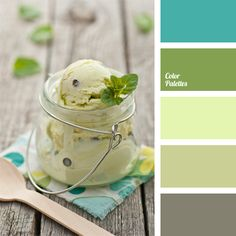 This gentle combination of shades of light green colour can be used for a kitchen and other premises. And best of all this palette will look in a bathroom..