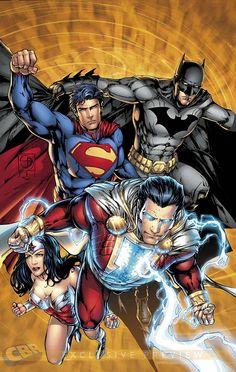 Justice League of America - Captain Marvel aka Shazam, Batman, Superman and Wonder Woman - JLA DC Comics Héros Dc Comics, Dc Comics Superheroes, Dc Comics Characters, Fun Comics, Captain Marvel Shazam, Comic Book Heroes, Comic Books Art, Comic Art, Young Justice