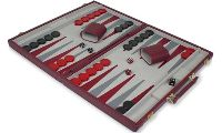 "Beautiful 17.5"" Burgundy Leatherette Deluxe Backgammon Set Large, would be a marvelous gift for board game fanatics, like Mom or Dad?! http://www.thegamesupply.com/backgammon-game-sets/ #backgammongames"