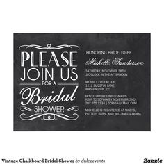 "Vintage Chalkboard Bridal Shower 5"" X 7"" Invitation Card #bridalshower #invitations #weddings"