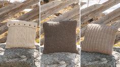 3 strikkede puder | Femina Crochet Home, Knit Crochet, Knit Pillow, Knitted Pillows, Drops Design, Knitted Bags, Crochet Pattern, Ravelry, Pillow Covers