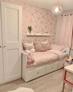 Girls Room Decor Ideas to Change The Feel of The Room - EnthusiastHome Ikea Girls Bedroom, Girls Bedroom Wallpaper, Room Design Bedroom, Bedroom Decor For Teen Girls, Cute Bedroom Ideas, Girl Bedroom Designs, Room Ideas Bedroom, Home Room Design, Small Room Bedroom