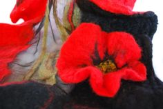 Poppy Sorority silk scarf nuno felted with merino by artbynamaste, $130.00