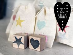 Heart and Star Wedding and Party Favor Stamps, 20 stamps. $65.00, via Etsy.