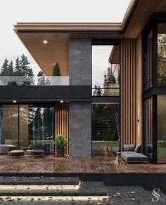Modern house in the USA - Exterior Design Modern House Facades, Modern Architecture House, Architecture Design, Residential Architecture, Modern Houses, Amazing Architecture, Stairs Architecture, Modern Mansion, Facade Design