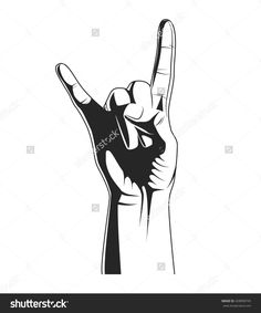 Hand in rock. Rock festival poster. Silhouette of hand of rocker for poster, print t-shirt, tattoo. Heavy metal old sign and symbol hand. Rock'n'roll music