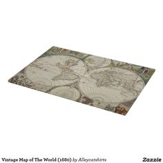 Vintage Map of The World (1680) Cutting Board