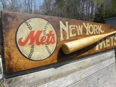 Original # NY Mets baseball   sign  by   ZekesAntiqueSigns@etsy