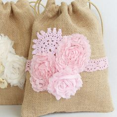 Dollar dance bag, pink wedding purse, shabby chic vintage, burlap and lace pink wedding, flower girl bag on Etsy, $22.00