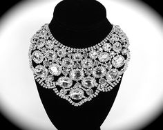 Chunky Rhinestone Bridal Statement Necklace Wedding Necklace. $66.00, via Etsy.