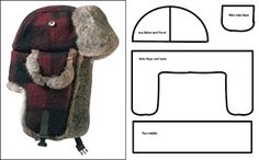 """Just this pattern no directions for this warm hat. Enlarge middle piece (upside down """"U"""") until fits around head (measure from temple to temple); then do the math. When cutting out faux fur - cut upside down & only the backing.  Before sewing fur - electric shave or use scissors to remove fur from seam allowance /  Pin to keep fur in the right direction."""