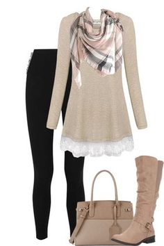 I love everything about this outfit--the black pants, neutral shirt with lace at the bottom, coordinating plaid scarf.