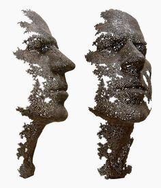 Fading Human Sculptures Made of Iron Nuts - Manuel Marti Moreno