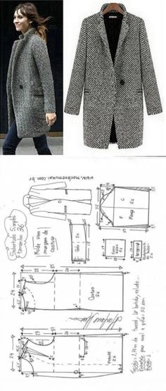 Tremendous Sewing Make Your Own Clothes Ideas. Prodigious Sewing Make Your Own Clothes Ideas. Coat Patterns, Dress Sewing Patterns, Clothing Patterns, Fashion Sewing, Diy Fashion, Ideias Fashion, Fashion Clothes, Work Fashion, Unique Fashion