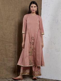 Old Rose Hand Embroidered Cotton Gota Gathered Kurta Kurti Neck Designs, Dress Neck Designs, Bridal Blouse Designs, Pakistani Dresses Casual, Pakistani Dress Design, Indian Designer Wear, Indian Designers, Traditional Outfits, Traditional Trends