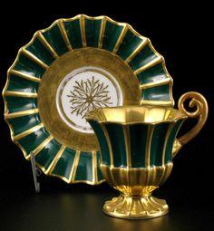 ** Čechy, Horní Slavkov, Lippert & Haas, 1831. Šálek s podšálkem z bílého porcelánu **