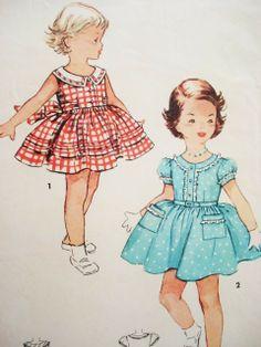 1950s Cute Girls Dress Pattern Simplicity 4628 Vintage Sewing Pattern Size 6 FACTORY FOLDED