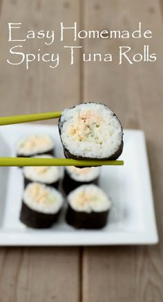 Easy recipe to make sushi at home using canned tuna for homemade spicy tuna rolls. Naturally gluten free and dairy free, and 100% delicious. Ready in under 30 minutes for a perfect weeknight meal or make a batch for a party appetizer. /bumblebeefoods/ #OnlyAlbacore #CG AD