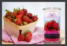 "Boasting the sweet scent of handpicked juicy #strawberries, with a touch of #vanilla cream...  This candle is truly ""fruit-tastic!!"""